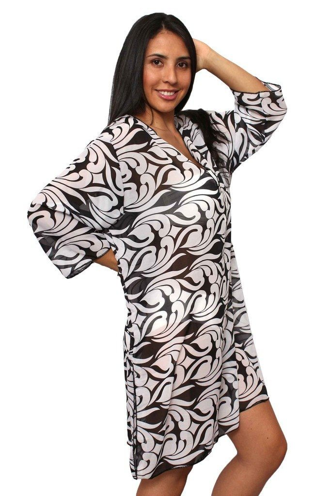 Plus Size Beach Dress Chiffon Long Sleeve Swimwear Cover-up Made in the USA