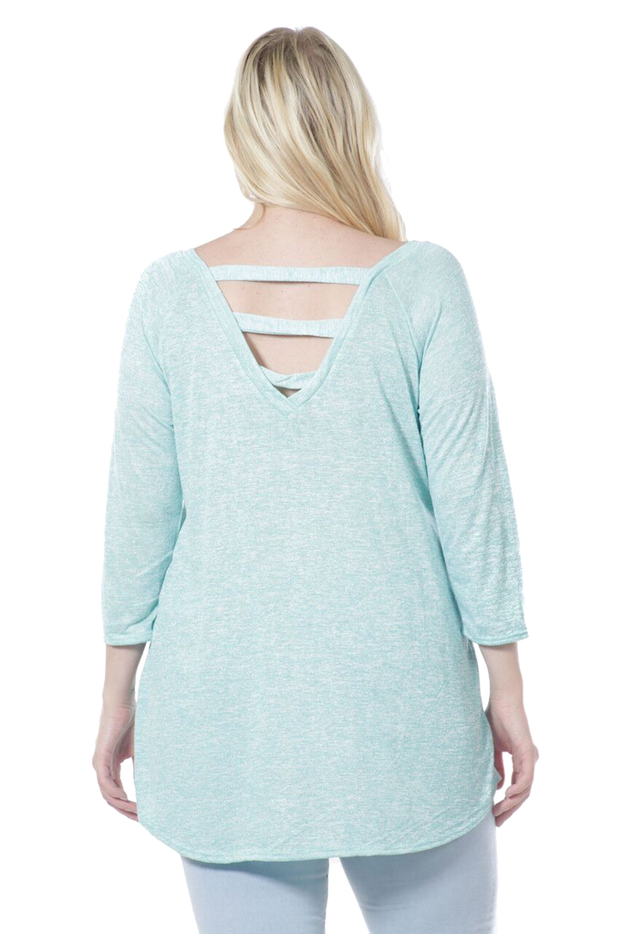 Women's Peek A Boo Back Burnout Long Sleeve Top Made in USA
