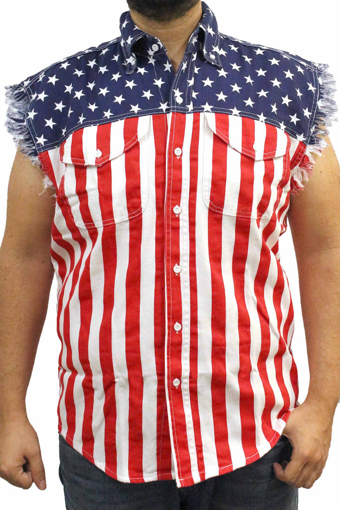 Men's USA Flag Sleeveless Denim Shirt Pin Up Girl Assault Rifle