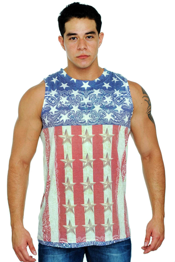 Men's USA Flag Tank Top Sublimated Western Design Mens Tank Tops Exist RED LARGE