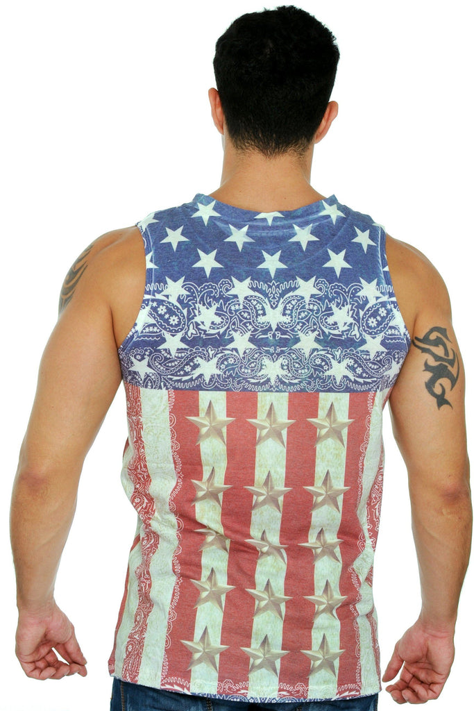 Men's USA Flag Tank Top Sublimated Western Design Mens Tank Tops Exist