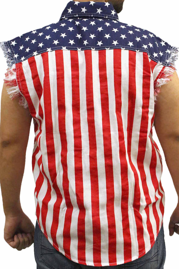 USA Flag Sleeveless Denim Shirt