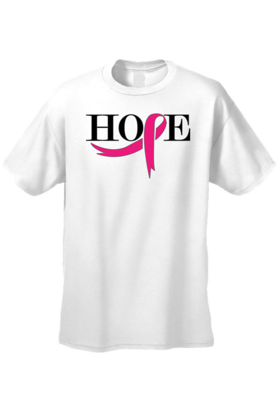 Unisex T Shirt Breast Cancer Awareness Pink Ribbon of Hope