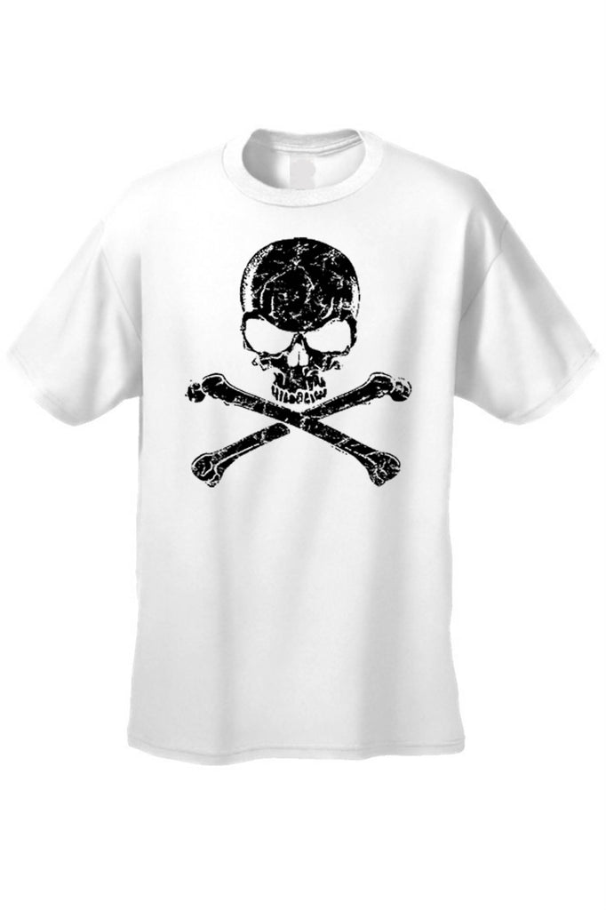 Men's/Unisex Biker Skull Head with Cross Bones  Short Sleeve T-shirt