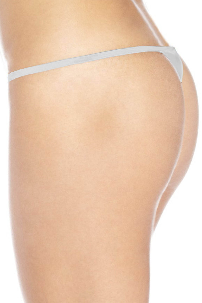 "Sexy Funny  Women's Made in USA White Thong G-string: Black ""All You Can Eat"""