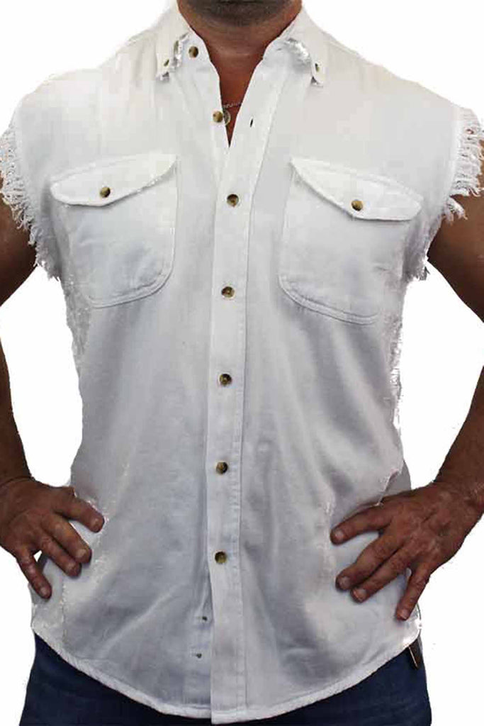 Men's Sleeveless Denim Shirt Common Sense Biker Vest: WHITE (XXL)