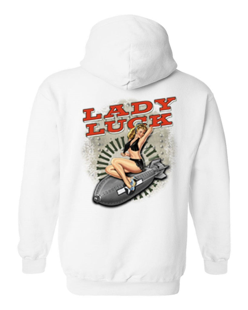 Men's/Unisex Zip-Up Hoodie Sexy Vintage Lady Luck On Navy Bomb Mens Zip Up Hoodies SHORE TRENDZ WHITE Small