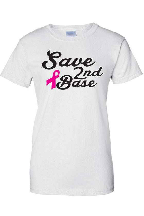 Women's Juniors T Shirt breast cancer awareness Save 2ND Base