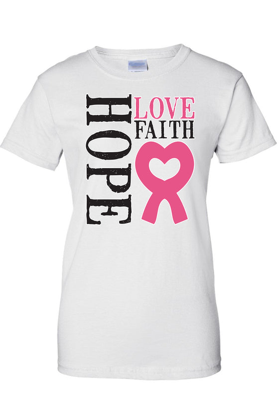 Women's Juniors T Shirt breast cancer awareness Go Fight Cure