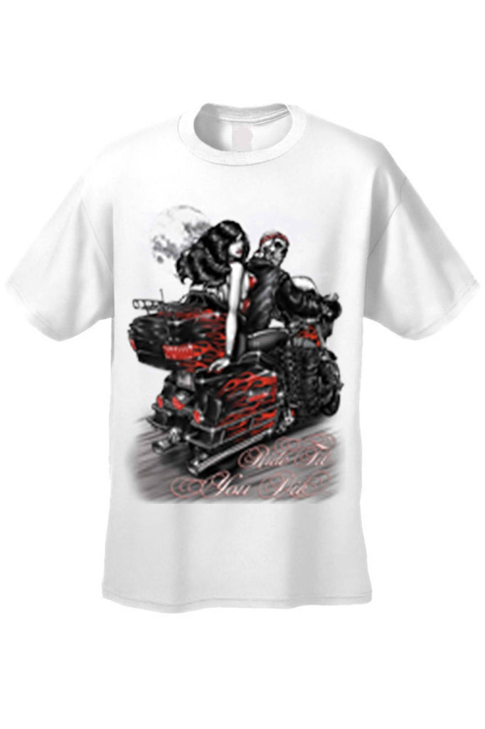 Men's/Unisex Ride Til You Die BIker Style Short Sleeve T-shirt Mens T-Shirts SHORE TRENDZ WHITE 3XL