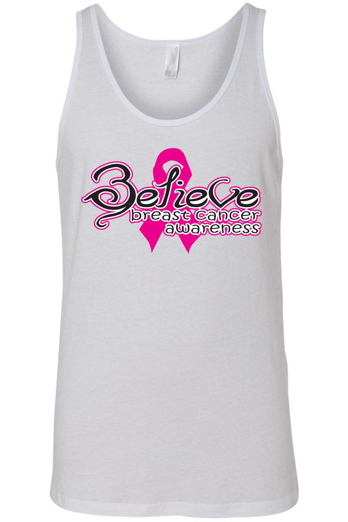 Men's Tank Top Breast Cancer Awareness Believe Pink Ribbon