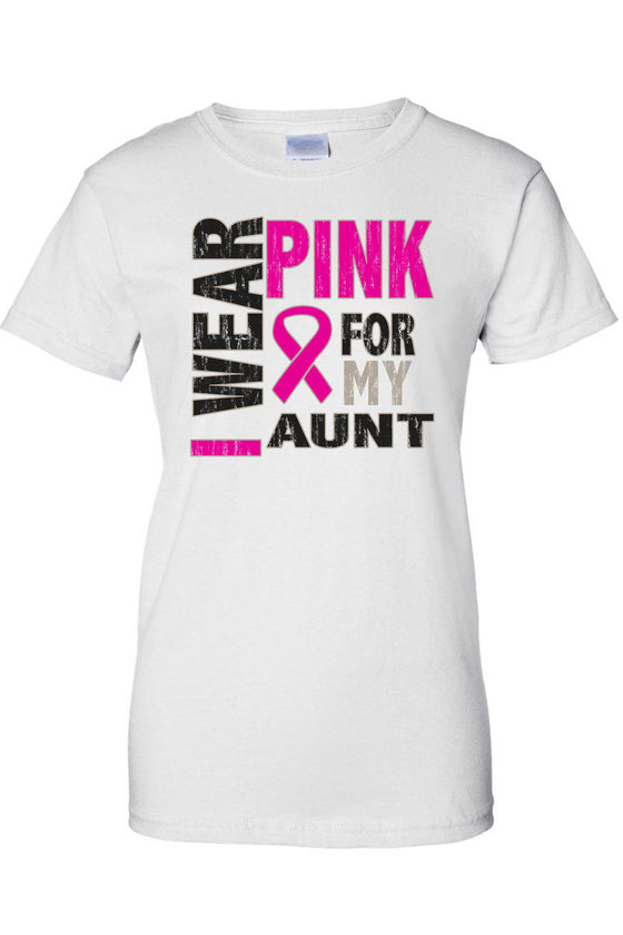 Women's Juniors T Shirt breast cancer awareness I Wear Pink For My Aunt