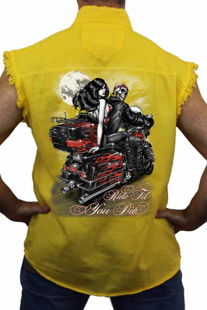 Men's Sleevless Denim Shirt Ride Till You Die Sleeveless Denim SHORE TRENDZ Yellow 3X
