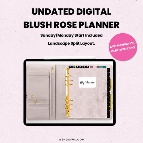 Undated Sunday & Monday Start Blush Digital Planner