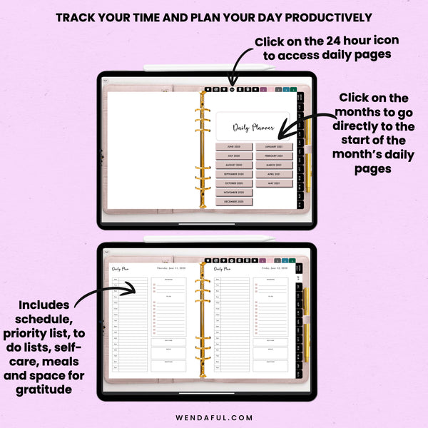 Dated Sunday & Monday Start Blush Digital Planner (June 2020-May 2021) - Wendaful Planning