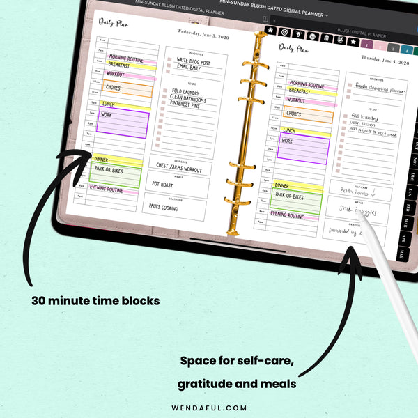 Undated Sunday & Monday Start Blush Digital Planner - Wendaful Planning