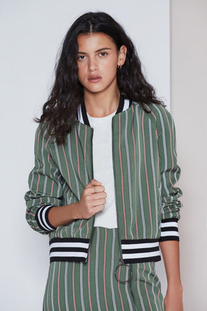 Axial Stripe Bomber Jacket
