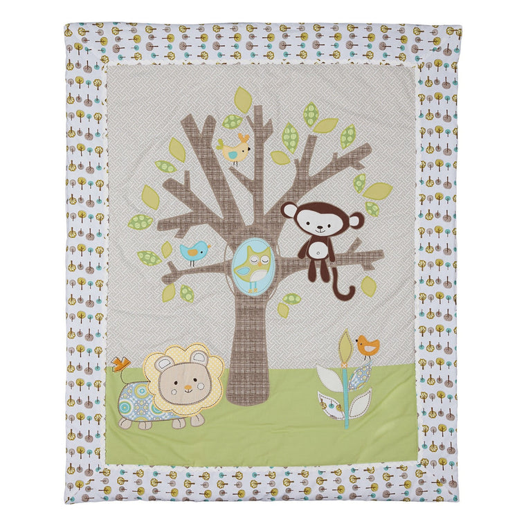 Animal Tree All Seasons Cot Quilt