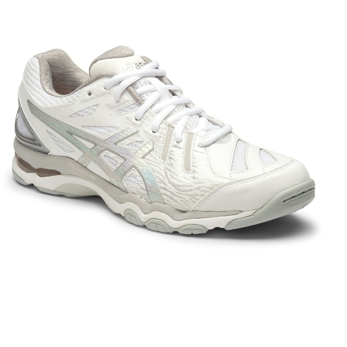 Ladies Asics Gel Netburner Super 6 White/Hologram Silver