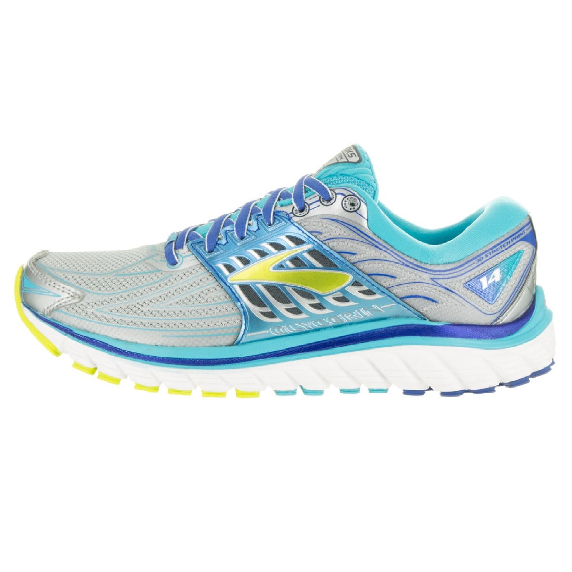 Ladies Brooks Glycerin 14 Running Shoe, Silver/Blue