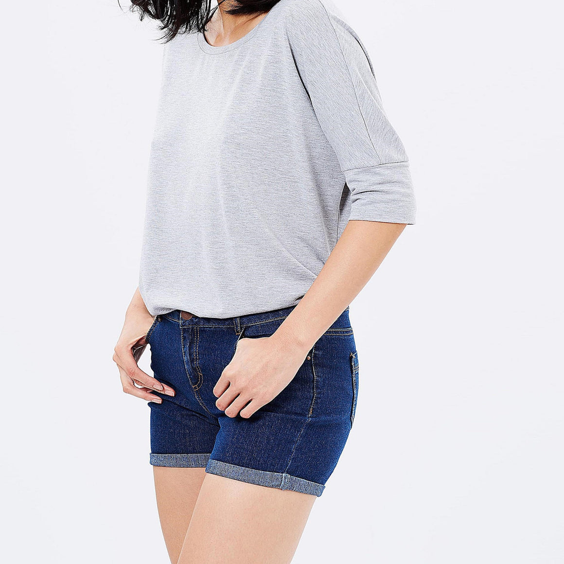 Ladies Denim Shorts - Mid Wash