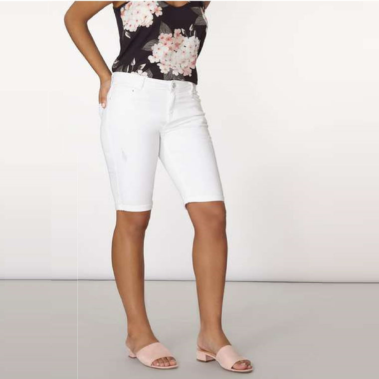 Ladies Abrasion Denim Knee Shorts