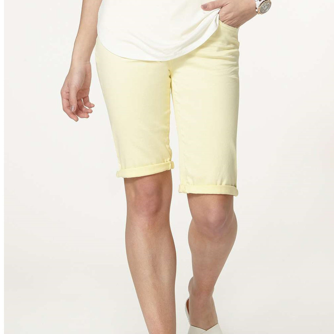 Ladies Denim Lemon Knee Shorts