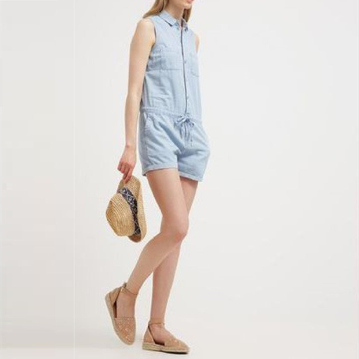 Ladies Bleached Denim Playsuit