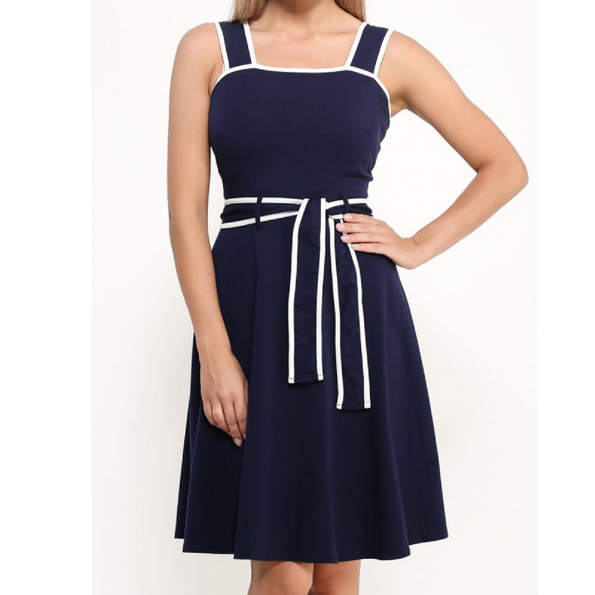 Ladies Navy Tipped Sundress