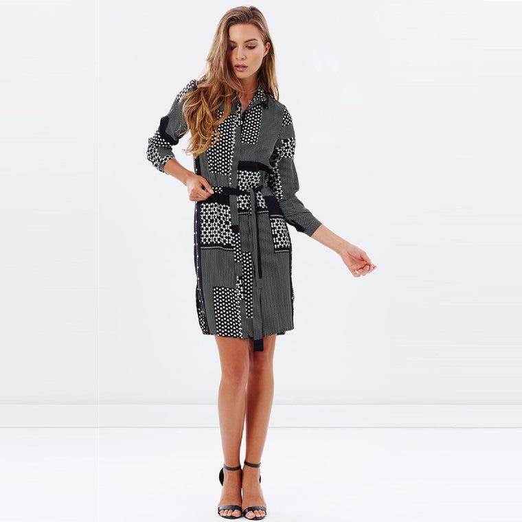 Ladies Patchwork Shirt Dress