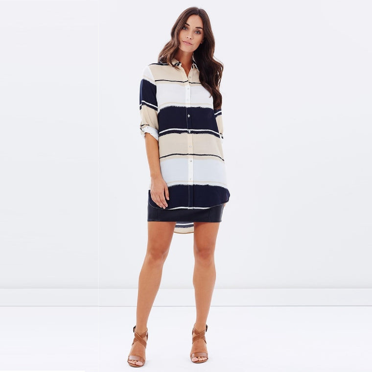 Ladies Blur Stripe Longline Shirt