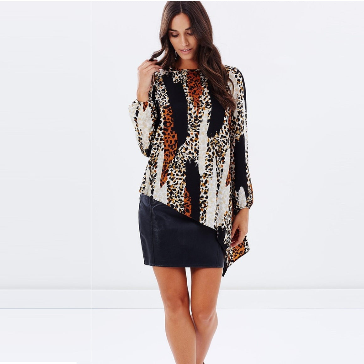 Ladies Asymmetric Animal Print Top