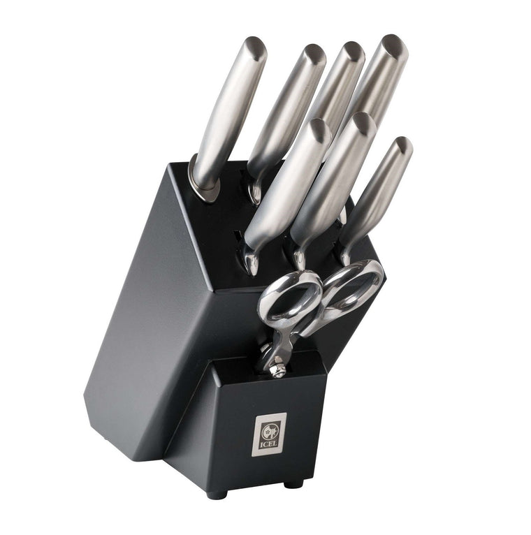 Icel 8pc Knife Block, Black
