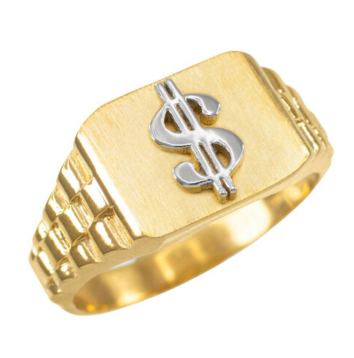 10K Gold Dollar Sign Ring