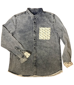 Handcrafted Kurrencii™ Kurrencii-Print Denim Button Up