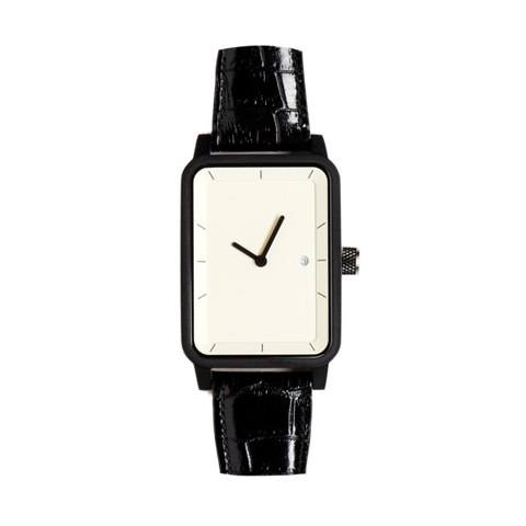 #3 Watch - Black / Croc / White - 38mm