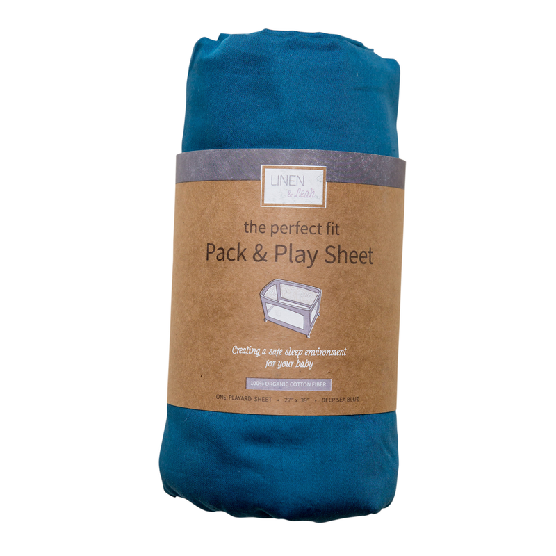 Perfect Fit Pack & Play Sheet - Deep Sea Blue