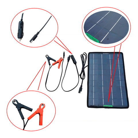 12 V 10 W Portable Solar Battery Charger