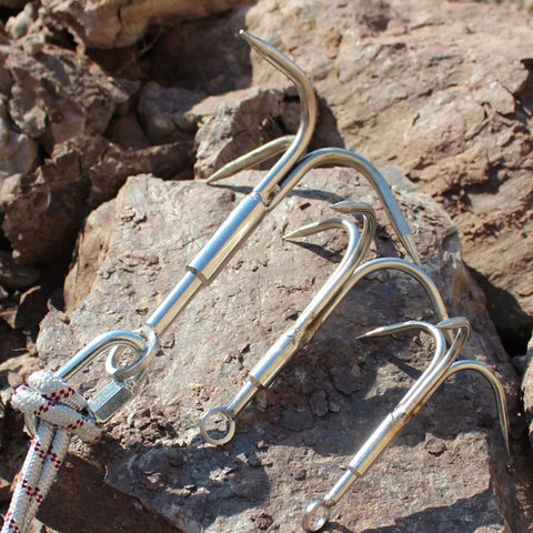 Stainless steel rock climbing grappling hook