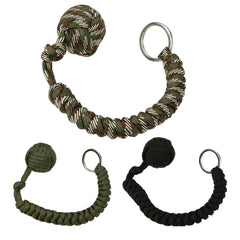 "Stainless Steel Ball Pendant Paracord Key Chain - ""Monkey Fist"""