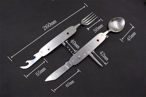Stainless Steel Multitool Pocket Camping Folding Knife Cutlery Sets