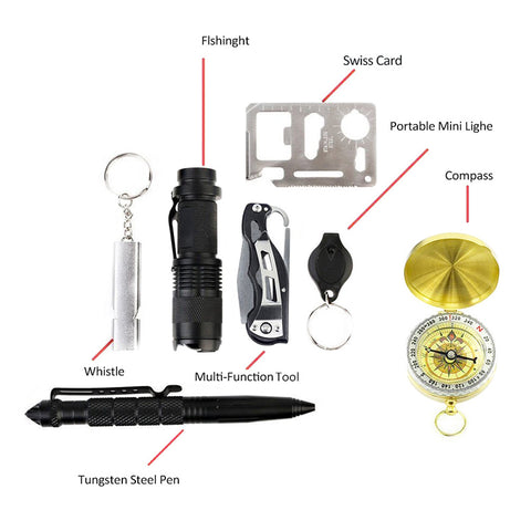 10 in 1 Emergency Survival Gear Tool Kit