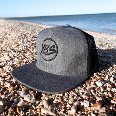 Flat Peak Trucker Cap Grey/Black