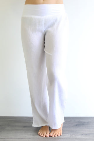 PURE COTTON CHEESECLOTH BEACH PANTS 3/4 LENGTH - COTTON