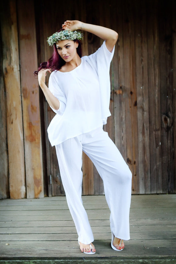 PURE WOMENS BEACH PANTS COTTON CHEESECLOTH