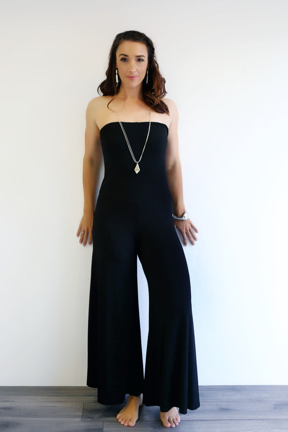 PANTSUIT STRAPLESS WITH LONG or 3/4 WIDE LEG PALAZZO PANTS