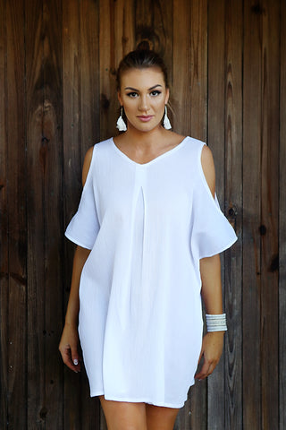 Pure Cold Shoulder Beach Dress - Cotton Cheesecloth