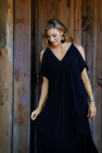 Nerida Tie Cold Shoulder Maxi Dress