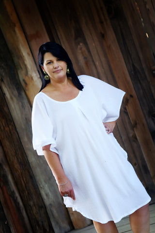 PURE COTTON CHEESECLOTH BATWING BEACH DRESS
