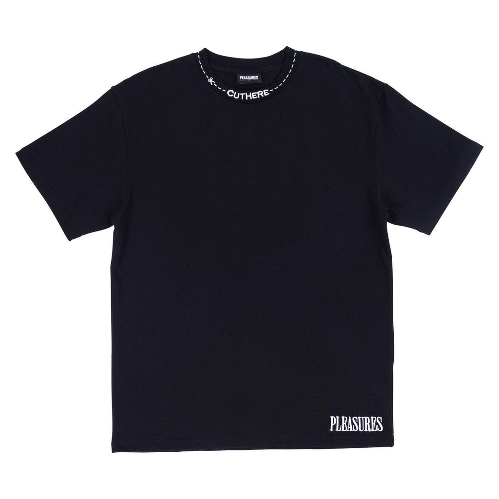 PLEASURES CUT HERE HEAVY WEIGHT BLACK SHIRT